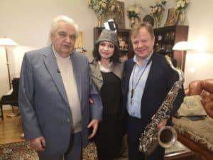 Евгений Крылатов, Игорь Бутман, Любаша на съемке юбилея Крылатова